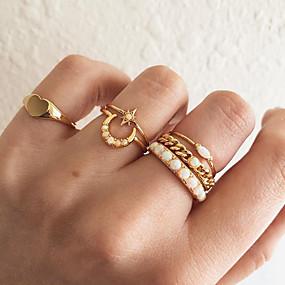 billige Smykker & Ure-Dame Hvid Syntetisk Opal Retro Knoringe Ring Set Midi Ring Simuleret diamant MOON Hjerte Stjerne Simple Vintage Koreansk Moderinge Smykker Guld Til Gave Daglig Gade 7 6stk