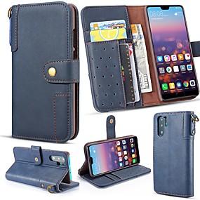 abordables Offres Quotidiennes-Coque Pour Huawei P20 Pro / Huawei P30 Lite Portefeuille / Porte Carte / Avec Support Coque Intégrale Couleur Pleine Dur Cuir véritable pour Huawei P20 / Huawei P20 Pro / Huawei P20 lite