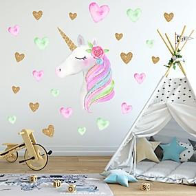 povoljno Ukrasne naljepnice-kreativni dječji samoljepljivi crtani jednorog s pvc dekorativnim zidnim naljepnicama - životinjske zidne naljepnice životinje dječja soba / vrtić