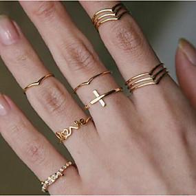 billige Smykker & Ure-Dame Statement Ring Ring Moderinge Smykker Guld Til Festival 11pcs