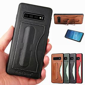 halpa Galaxy S -sarjan kotelot / kuoret-kovempi shann-kotelo samsung galaxy s10 s10 plus -jalustalle / kortinpidikkeelle takakansi kiinteä värillinen kova pu nahka s10 e s9 s9 plus s8 s8 plus