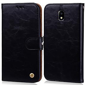 voordelige Galaxy J3(2017) Hoesjes / covers-hoesje Voor Samsung Galaxy J3 (2017) Kaarthouder / Flip Volledig hoesje Effen Hard PU-nahka