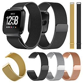 economico Cinturini per Fitbit-Cinturino per orologio  per Fitbit Versa / Fitbit Versa Lite Fitbit Cinturino a maglia milanese Metallo / Acciaio inossidabile Custodia con cinturino a strappo
