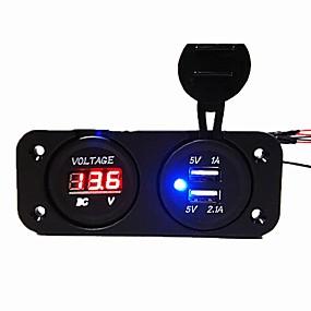 voordelige Autoladers-dc12v 3.1a autolader tweegatspaneel met dubbele usb-poorten spanningsmeter stroomadapters vrachtwagen auto motorfiets stopcontact