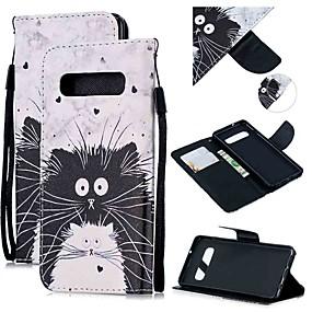 voordelige Galaxy S7 Edge Hoesjes / covers-hoesje Voor Samsung Galaxy S9 / S9 Plus / S8 Plus Portemonnee / Kaarthouder / Schokbestendig Volledig hoesje Kat PU-nahka