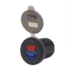 voordelige Autoladers-12 / 24v auto motorboot boot universele mobiele telefoon oplader voltmeter 2 in 1 usb telefoon oplader