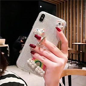 voordelige Galaxy S7 Hoesjes / covers-hoesje Voor Samsung Galaxy S9 / S9 Plus / S8 Plus Schokbestendig / Ringhouder / Glitterglans Achterkant Transparant / Glitterglans TPU