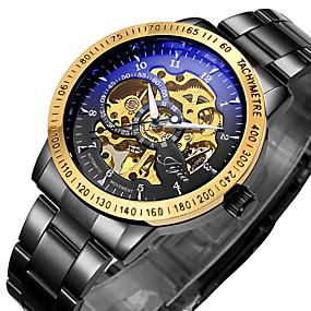 voordelige Merk Horloge-WINNER Heren Skeleton horloge Polshorloge mechanische horloges Automatisch opwindmechanisme Roestvrij staal Zwart / Zilver 30 m Waterbestendig Hol Gegraveerd Lichtgevend Analoog Luxe Vintage - Zwart