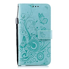 voordelige Galaxy J7(2017) Hoesjes / covers-hoesje Voor Samsung Galaxy J7 (2017) / J6 (2018) / J5 (2017) Portemonnee / Kaarthouder / Schokbestendig Volledig hoesje Effen / Vlinder PU-nahka