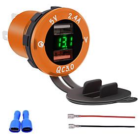 voordelige Autoladers-qc3.0 dual port usb lader stopcontact adapter met led digitale voltmeter voor telefoons ipad gps modellengroen geel