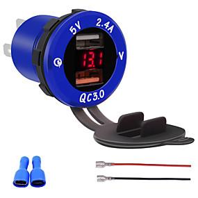 voordelige Autoladers-qc3.0 dual port usb lader stopcontact adapter met led digitale voltmeter voor telefoons ipad gps modellenrood zilver