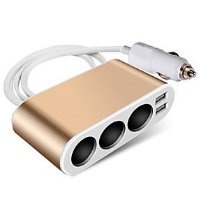 voordelige Autoladers-auto sigarettenaansteker stopcontact splitter lader metalen lader stroomadapter modellen upgrade metalen 3-gaats goud