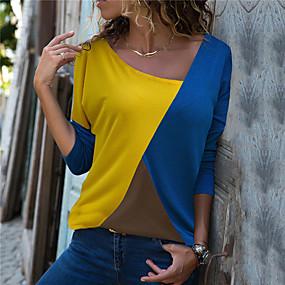 cheap Women's Sweaters-Women's Color Block Long Sleeve Cardigan, Round Neck Fall Black / Light Blue / Yellow S / M / L