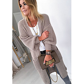 cheap Women's Sweaters-Women's Solid Colored Long Sleeve Cardigan, V Neck Fall Blushing Pink / Gray / Khaki S / M / L