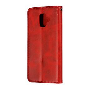 voordelige Galaxy A8 Hoesjes / covers-hoesje Voor Samsung Galaxy A8 / A7 / Galaxy A30 (2019) Kaarthouder / Magnetisch Volledig hoesje Effen PU-nahka / PC