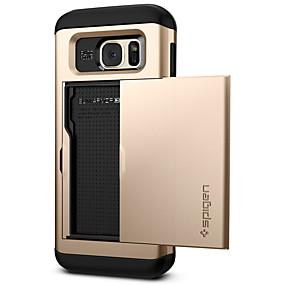 voordelige Galaxy S7 Edge Hoesjes / covers-hoesje Voor Samsung Galaxy S7 edge Kaarthouder / Stofbestendig / Backup Achterkant Effen PC