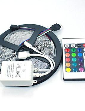 ราคาถูก ไฟเส้น LED-หลอดไฟ led strip ไม่กันน้ำ 5050 5m 150leds rgb พร้อมรีโมท 24key dc12v