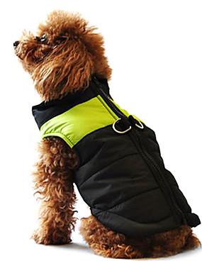 رخيصةأون مستلزمات الحيوانات الأليفة-كلب المعاطف / سترة / جاكيتات ريش ملابس الكلاب ألوان متناوبة أسود / زهري / أسود / أخضر / أسود وأزرق قطن كوستيوم للحيوانات الأليفة الشتاء رجالي / نسائي كاجوال / يومي / الدفء / دافئ