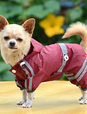 رخيصةأون مستلزمات الحيوانات الأليفة-كلب معطف واق من المطر ملابس الكلاب لون سادة أصفر / أحمر / أخضر الاكريليك وألياف كوستيوم للحيوانات الأليفة الصيف رجالي / نسائي مقاومة الماء / ضد الرياح