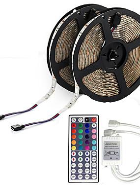 ราคาถูก ไฟเส้น LED-10 เมตร (2 * 5 เมตร) 3528 600 leds กันน้ำ rgb 44 คีย์ ir ควบคุมระยะไกลที่มีความยืดหยุ่นแถบแสง led