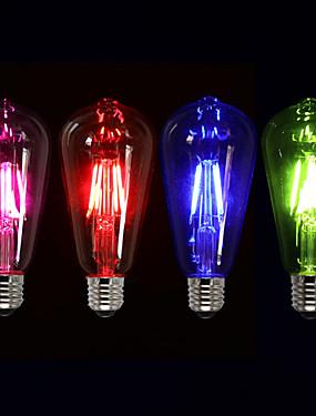 Χαμηλού Κόστους Λαμπτήρες LED με νήμα πυράκτωσης-1pc 4W 360lm E26 / E27 LED Λάμπες Πυράκτωσης ST64 4 LED χάντρες COB Διακοσμητικό Ροζ / Πράσινο / Μπλε 220-240V