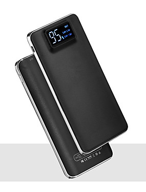 cheap Cell Phone Accessories-20000mAh 5V 2A Portable Powerbank Charger Flashlight with LED Smart Digital Display External Battery Charger for Mobile Phone