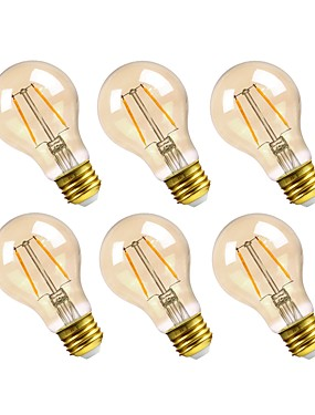 رخيصةأون مصابيح خيط ليد-GMY® 6PCS 2.5W 160lm E26 مصابيحLED A19 2 الخرز LED COB تخفيت ديكور ضوء LED أبيض دافئ 110-130V
