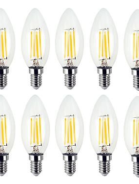 رخيصةأون مصابيح خيط ليد-YWXLIGHT® 10pcs 4 W 300-400 lm E12 أضواء شموغ LED / مصابيحLED C35 4 الخرز LED مصلحة الارصاد الجوية إبداعي أبيض دافئ / أبيض كول 110-130 V