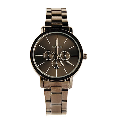 Black Tone Stainless Steel Round Shape Quartz Watch For Women Black+White Cool Watches Unique Watches