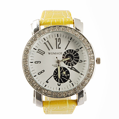 Big Dial PU Leather Band Crystal Characteristic Women Girl Ladies Wrist Watch - Yellow