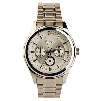 silverglänsande ramen rostfritt stål runda formen kvarts klocka för män