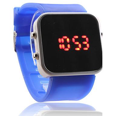 Silikone Rem Dame Herre Unisex Jelly Sport Stil Firkantet Spejl LED Armbåndsur - Blå