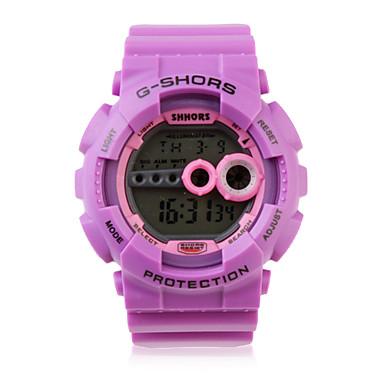 Waterproof Sporty Single Movement Digital Stop Automatic Watch with Night Light - Purple