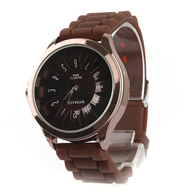 Women's Chrysanthemum Style Dial Silicone Band Quartz Analog Wrist Watch (Brown)