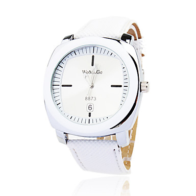 Fashionable Quartz Wrist Watch with White PU Band Cool Watches Unique Watches