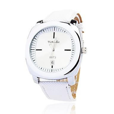 Elegante Reloj Pulsera Quartz Con Correa de PU Blanca
