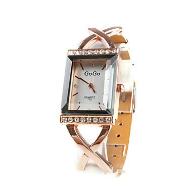 Women's Quartz Analog Diamante Gold Case PU Band Wrist Watch