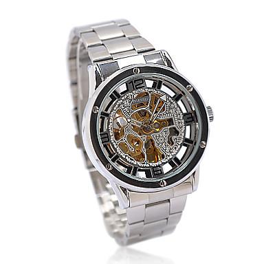 magníficos hombres de acero inoxidable reloj de pulsera mecánico