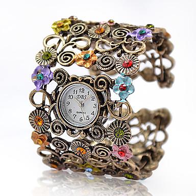 Dame Quartz Armbåndsur Modeur Legering Bånd Blomst Vintage Elegant Armring Bronze