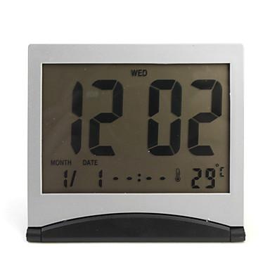 Flip-up LCD Digital Alarm Clock Calendar Thermometer