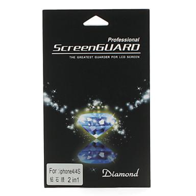 2-in-1 voor en achter diamant geval met reinigingsdoekje voor iPhone 4 en 4S