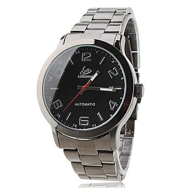 Erkek Otomatik kendi hareketli Bilek Saati Elbise Saat Moda Saat Takvim Gündelik Saatler Çelik Paslanmaz Çelik Bant İhtişam Siyah