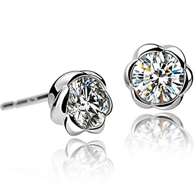 elegante diseño en forma de cristal de seguidores y aretes de platino plateado de aleación