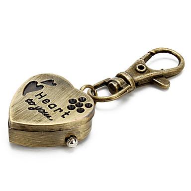 Women's Keychain Watch Quartz Band Heart shape Bronze