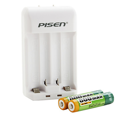 Pisen AA AAA Battery Charger with 2 x 800mAh Ni-MH AAA Rechargeable Battery