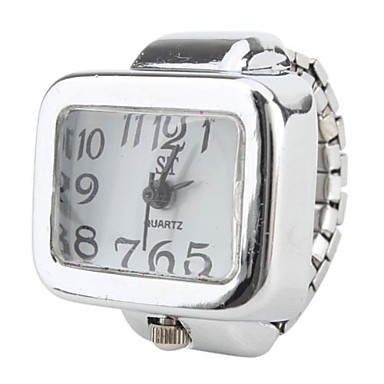 Women's Large Square Dial Size White Alloy Analog Quartz Ring Watch (Silver)