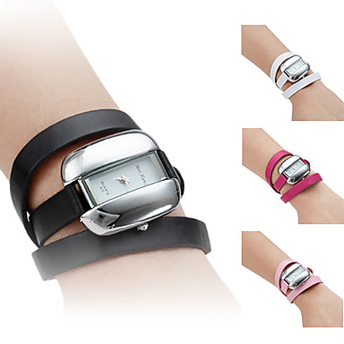 Women's PU Leather Band Style Analog Quartz Bracelet Watch (Assorted Colors)