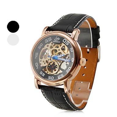 números de los hombres del estilo romano aleación analógico reloj de pulsera mecánico (negro)