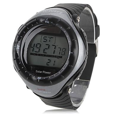 Homme Montre de Sport Montre Bracelet Numérique Alarme Calendrier Chronographe Solaire LED Chronomètre Caoutchouc Bande Cool Noir