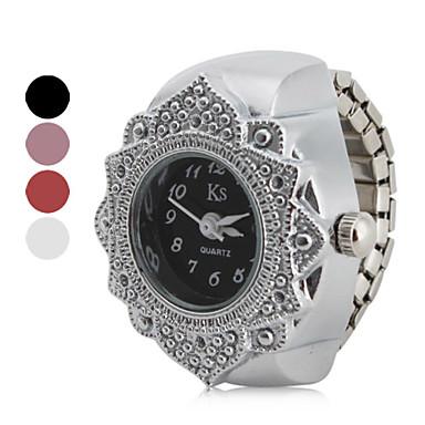 Kadın's Yüzük Saat Japonca Quartz Gümüş Gündelik Saatler Analog Bayan Çiçek Moda - Siyah Kırmzı Pembe Bir yıl Pil Ömrü / SSUO SR626SW